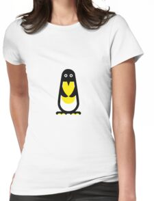 Penguin standing red background Womens Fitted T-Shirt