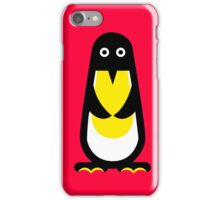 Penguin standing red background iPhone Case/Skin