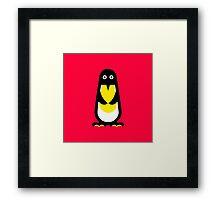 Penguin standing red background Framed Print