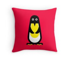 Penguin standing red background Throw Pillow