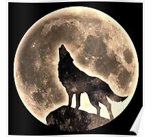 Howling Wolf, full moon, fullmoon, wild, dog, wolves Poster