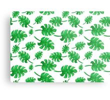 Seamless pattern of palm leaves painted with watercolors Metal Print