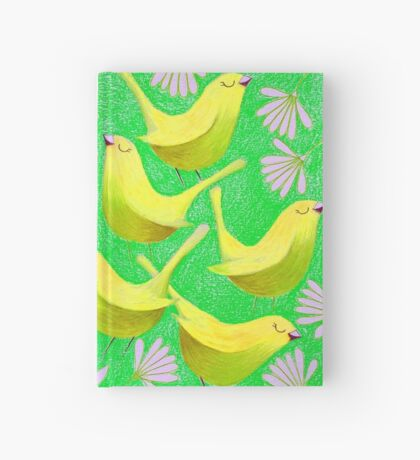 Gold birdies on lime Hardcover Journal