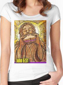 Jesus eating a PB & J sandwich!  Women's Fitted Scoop T-Shirt