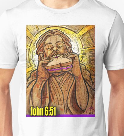 Jesus eating a PB & J sandwich!  Unisex T-Shirt