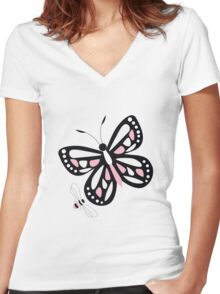 Butterflies and bees 003 Women's Fitted V-Neck T-Shirt