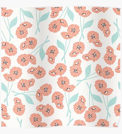 Retro flowers pattern 001 Poster