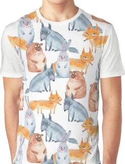 Pattern with forest animals. White background Graphic T-Shirt