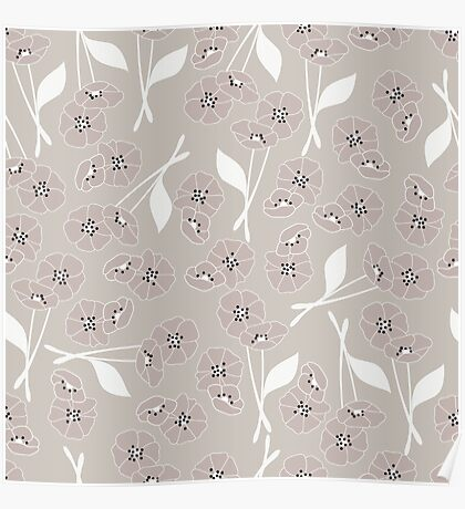 Retro flowers pattern 004 Poster