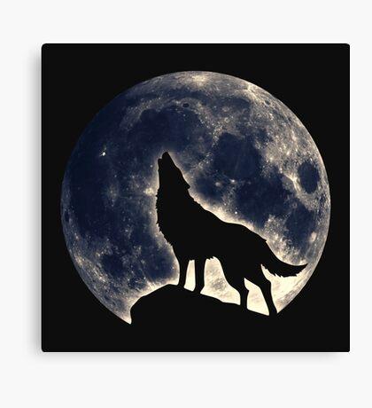 Wolf, moon, fantasy, wild, dog, wolves, sky, night Canvas Print