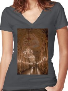 Italy. Genoa. Royal Palace. Hall of Mirrors. Women's Fitted V-Neck T-Shirt
