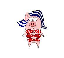 Pig in swimsuit and hat Photographic Print