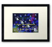 Christmas Card in Blue - for all my RedBubble Friends Framed Print
