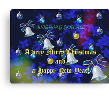 Christmas Card in Blue - for all my RedBubble Friends Canvas Print