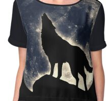 Wolf, moon, fantasy, wild, dog, wolves, sky, night Chiffon Top