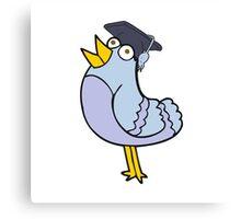 cartoon bird wearing graduation cap Canvas Print