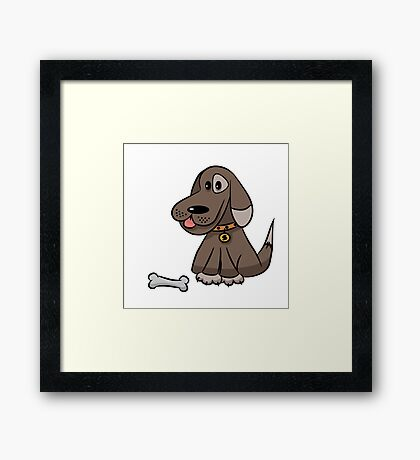 The dog with a bone Framed Print