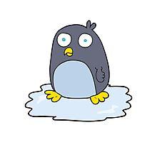cartoon penguin on ice Photographic Print