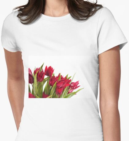 Red tulips bouquet sprinkled Womens Fitted T-Shirt