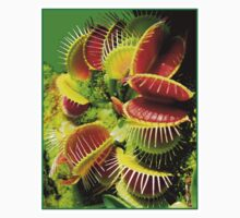 """VENUS FLY TRAP"" Flowered Poster Print One Piece - Short Sleeve"