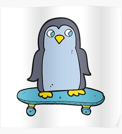 cartoon penguin riding skateboard Poster