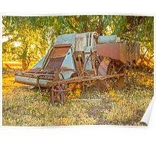Days gone by..... old harvester. Poster