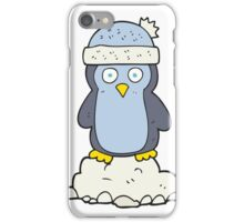 cartoon penguin wearing hat iPhone Case/Skin
