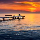 Romantic sunset on lake Neusiedl by Zoltán Duray