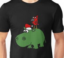 Funky Cool Christmas Hippo Art Unisex T-Shirt