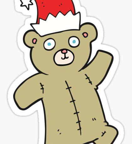 cartoon teddy bear wearing christmas hat Sticker