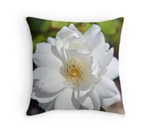 Beautiful pure white rose flower. Digital painting art style. Throw Pillow