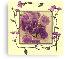 Campanella Framed With Pressed Petals Canvas Print