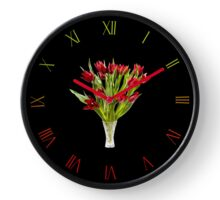 Red cut tulips bouquet in vase Clock