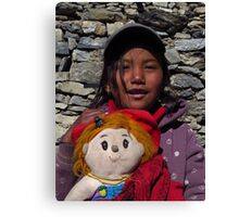 Nepalese Girl & Doll Canvas Print