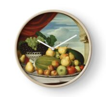 John Vanderlyn - Still Life Fruit In A Classical Setting 1858. Still life with fruits and vegetables: fruit, vegetable, grapes, tasty, gastronomy food, flowers, dish, cooking, kitchen, vase Clock