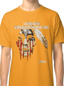 Native american, standing with rock Classic T-Shirt