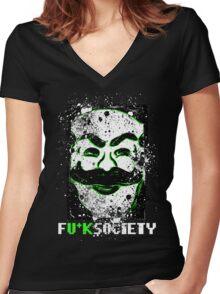 FU*K SOCIETY Women's Fitted V-Neck T-Shirt