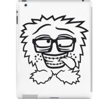 nerd geek schlau hornbrille zahnspange freak pickel haarig monster wuschelig verrückt lustig comic cartoon zottelig crazy cool gesicht  iPad Case/Skin