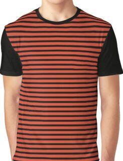 Tangerine Tango and Black Stripes Graphic T-Shirt