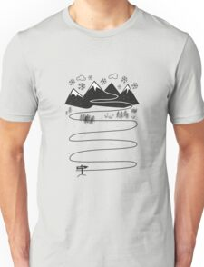 Way to santa claus house mountains and snowflakes trail Unisex T-Shirt