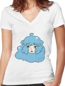 Blue Haired Girl Women's Fitted V-Neck T-Shirt