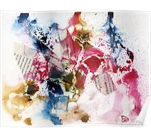 Blue, Pink and brown abstract  Poster