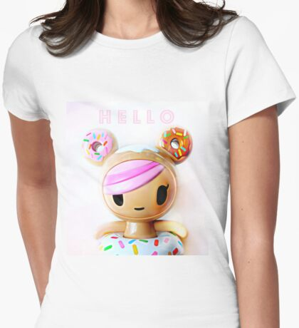 Hello Kawaii Womens Fitted T-Shirt