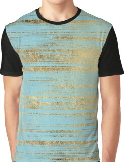 Chic Gold Brushstrokes on Island Paradise Blue Graphic T-Shirt