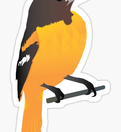 Yellow Cartoon Bird in Turquoise Background Sticker