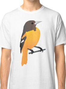 Yellow Cartoon Bird in Turquoise Background Classic T-Shirt
