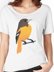 Yellow Cartoon Bird in Turquoise Background Women's Relaxed Fit T-Shirt