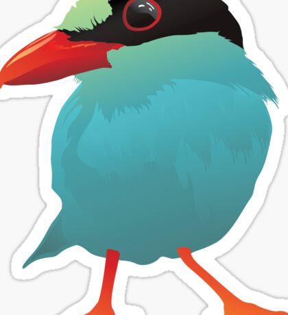 Blue Cartoon Bird in Black Background Sticker