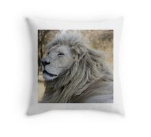 Male White Lion Throw Pillow