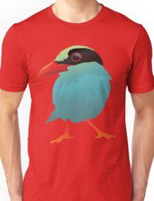 Blue Cartoon Bird in Black Background Unisex T-Shirt